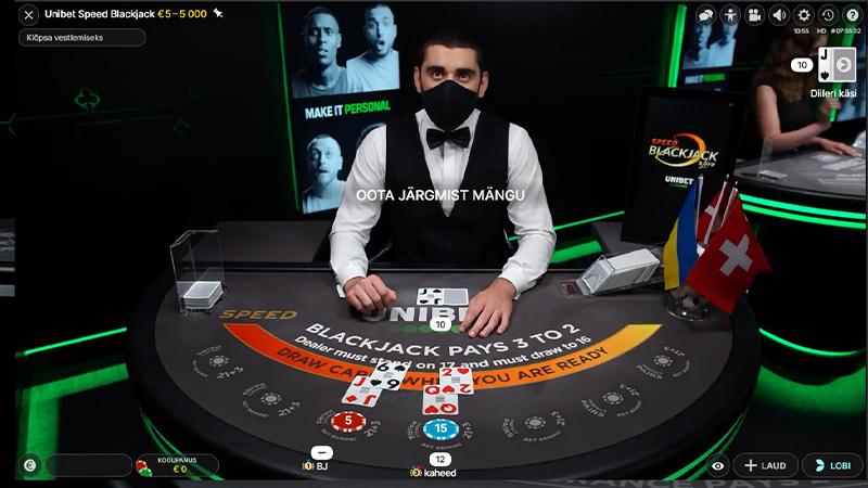Evolution Gaming Blackjacki laudades kannavad mitmed Unibeti märgistust