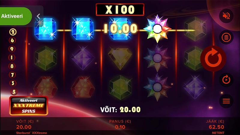 100-kordne võidukordistaja mängus Starburst XXXtreme