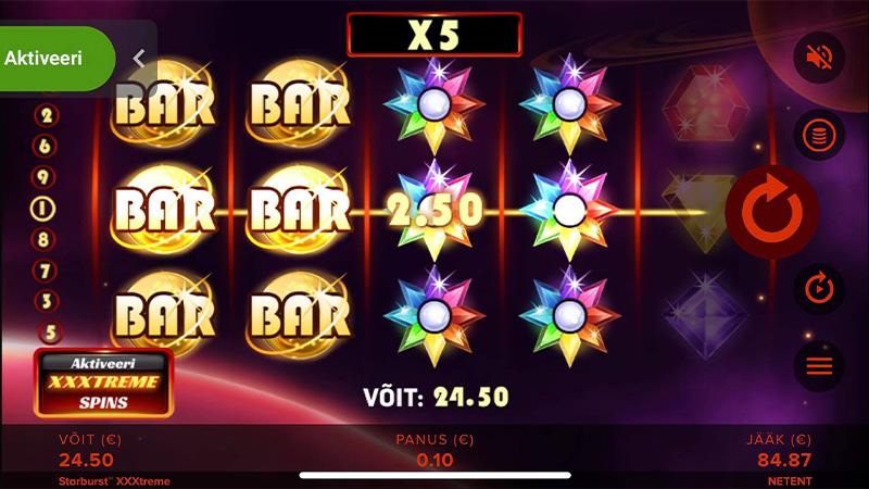 Suur võit slotimängus Starburst XXXtreme, Barid ja kaks WILD-rullikut