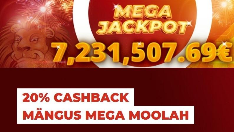 Saa 20% Cashbacki kui mängid Mega Moolah slotikat Optibetis