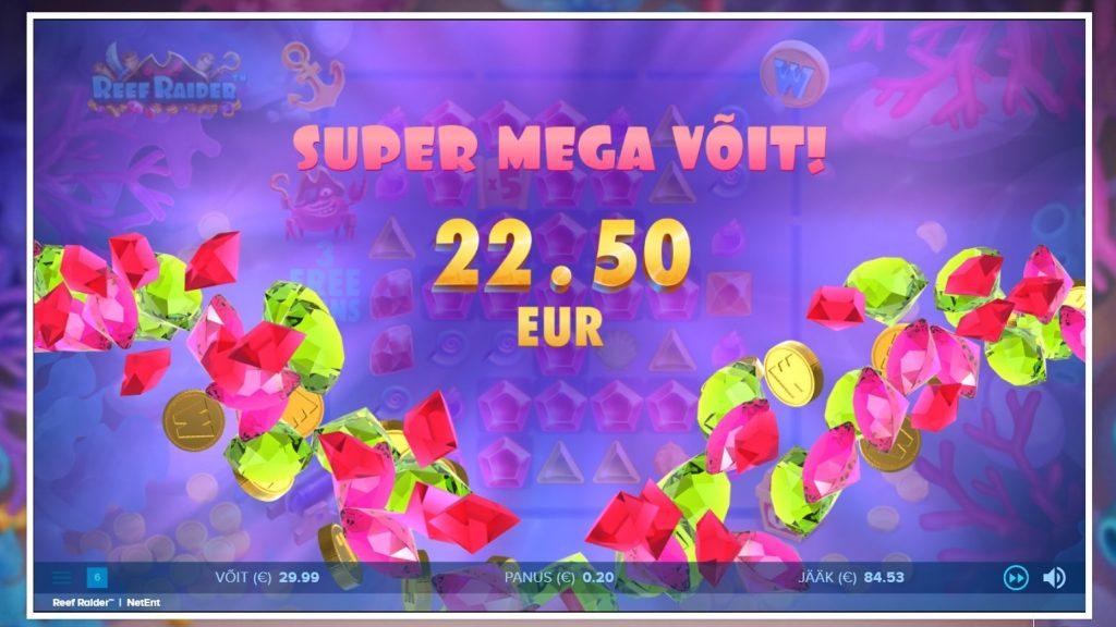 Reef Raider suur võit online slotimängus